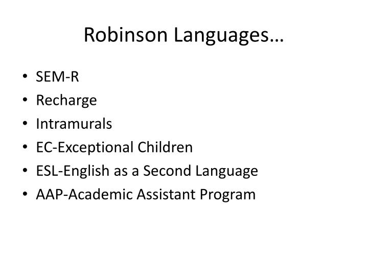 Robinson Languages…