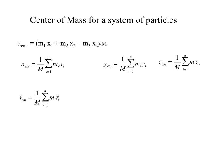 Center of Mass for a system of particles