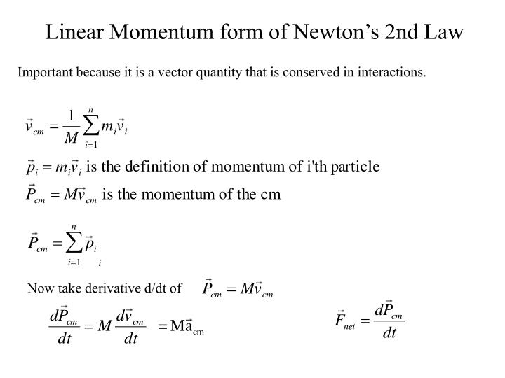 Linear Momentum form of Newton's 2nd Law