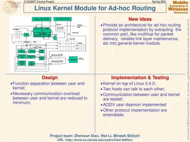 Linux kernel module for ad hoc routing