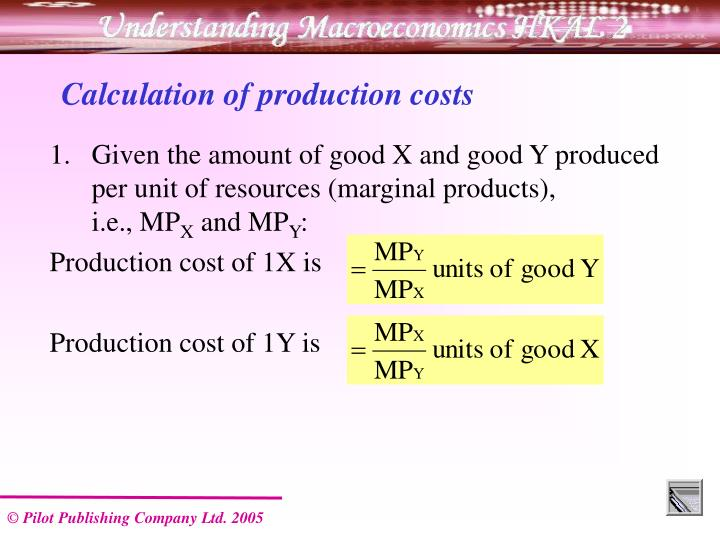 Calculation of production costs
