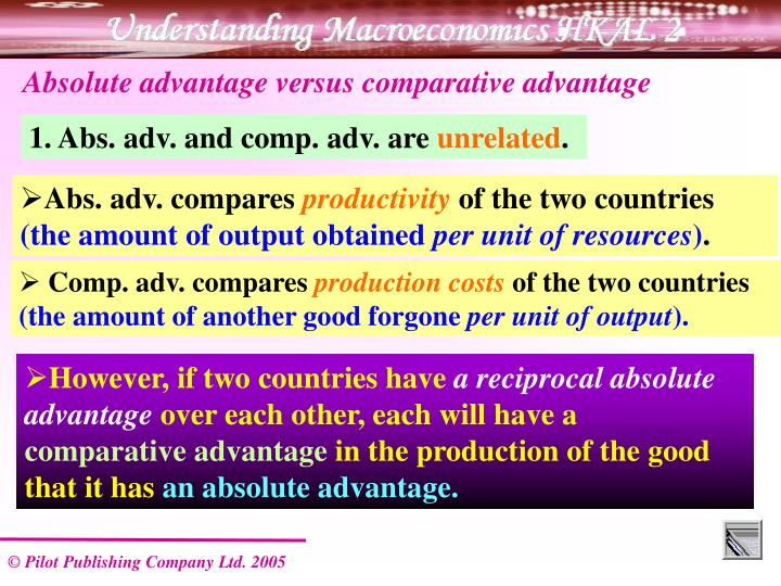 Absolute advantage versus comparative advantage