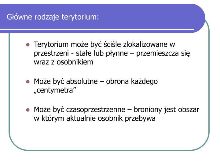 Główne rodzaje terytorium: