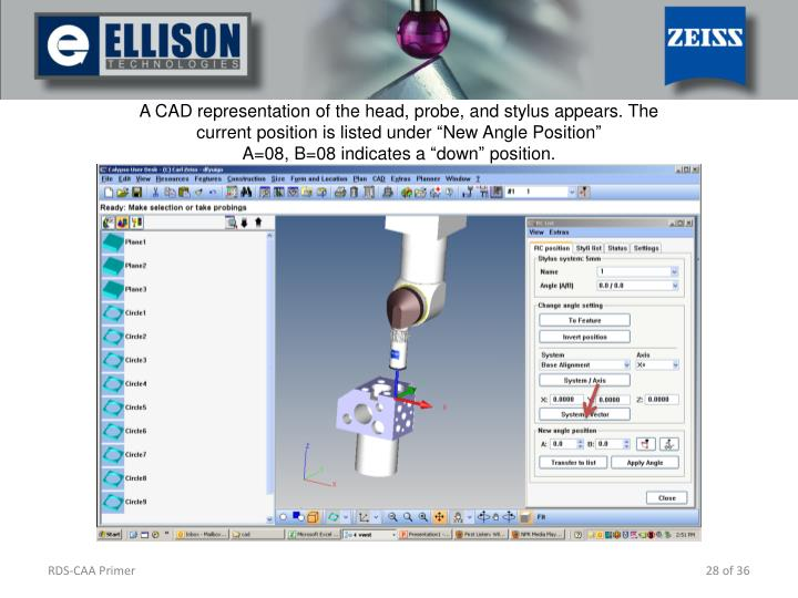A CAD representation of the head, probe, and stylus appears. The current position is listed under New Angle Position