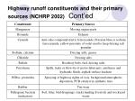 highway runoff constituents and their primary sources nchrp 2002 cont ed