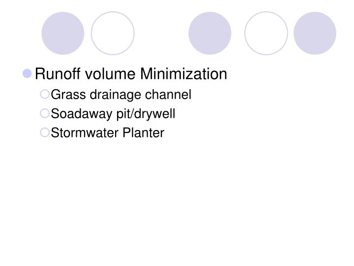 Runoff volume Minimization