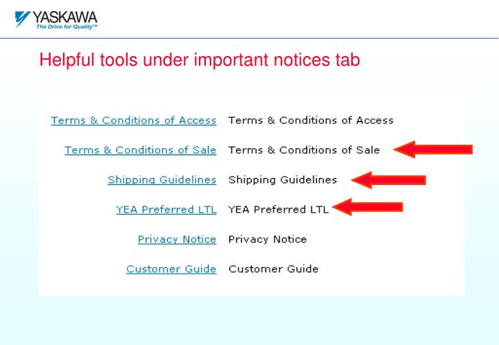 Helpful tools under important notices tab