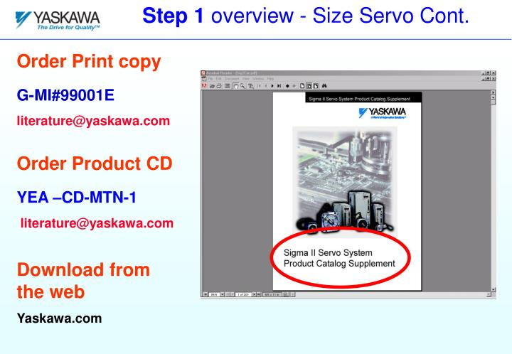 Step 1 overview size servo cont
