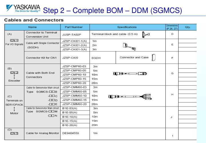 Step 2 – Complete BOM – DDM (SGMCS)