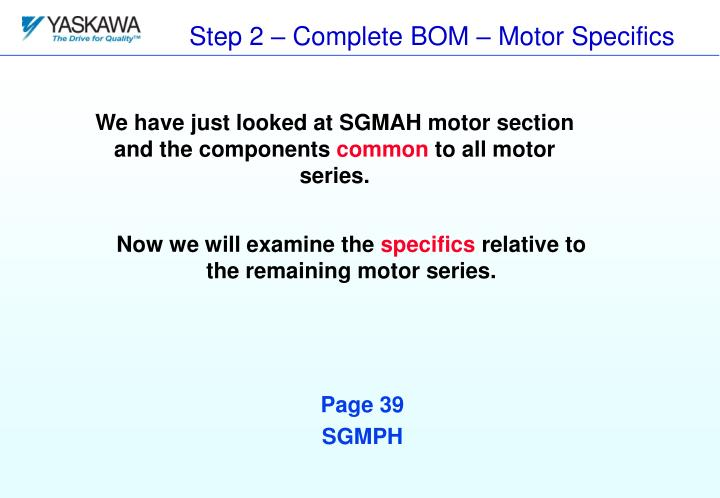 Step 2 – Complete BOM – Motor Specifics