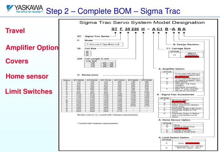 Sigma Trac Servo System Model Designation