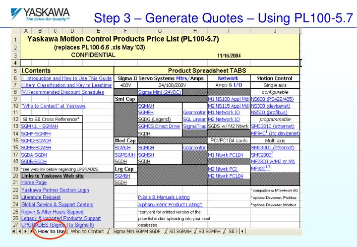 Step 3 – Generate Quotes – Using PL100-5.7