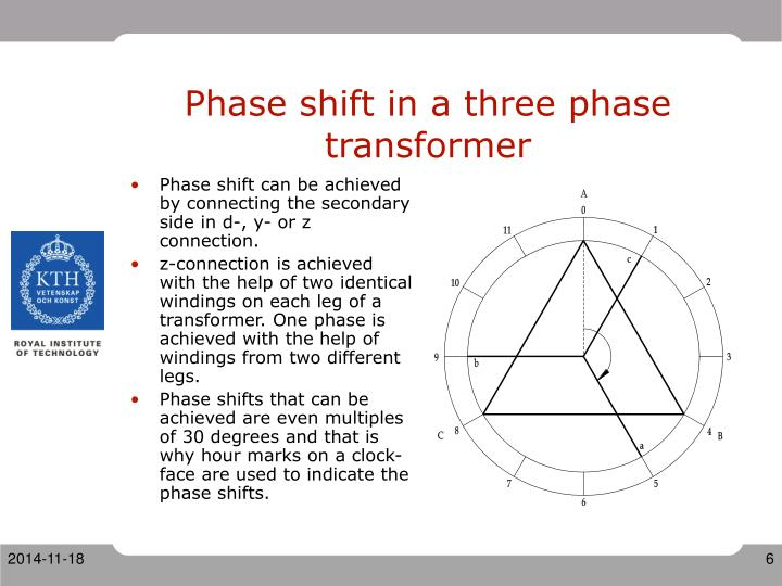 Phase shift in a three phase transformer