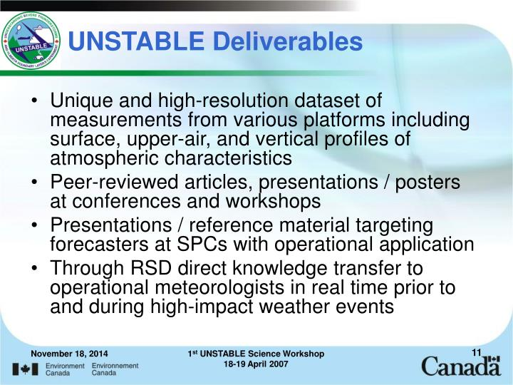 UNSTABLE Deliverables