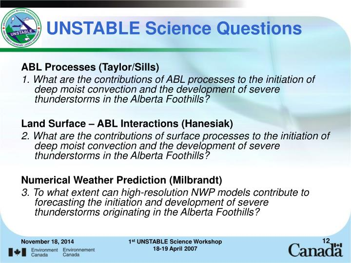 UNSTABLE Science Questions
