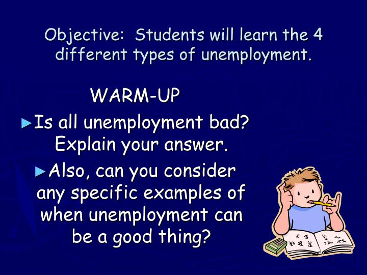 Objective students will learn the 4 different types of unemployment