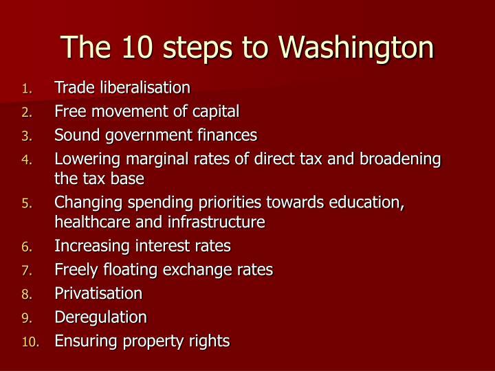 The 10 steps to Washington