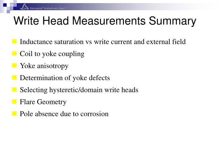 Write Head Measurements Summary