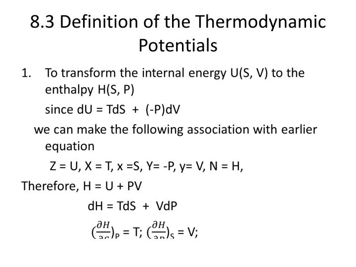8.3 Definition of the Thermodynamic Potentials