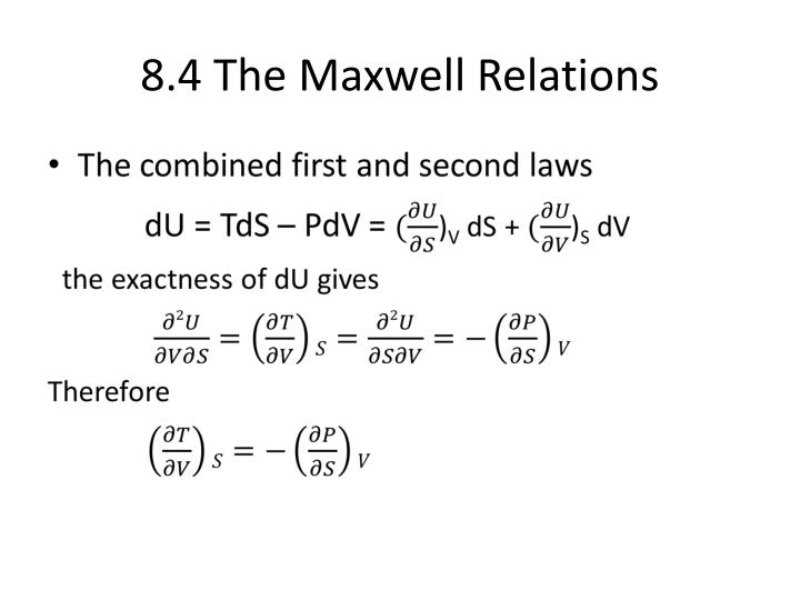 8.4 The Maxwell Relations