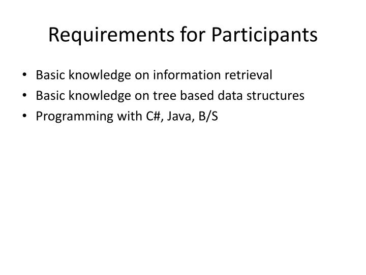 Requirements for Participants