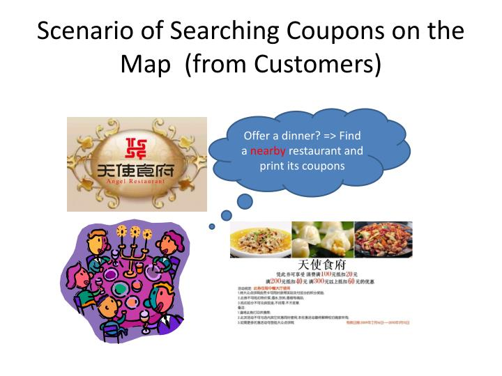 Scenario of searching coupons on the map from customers