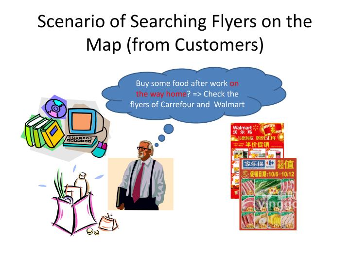 Scenario of searching flyers on the map from customers