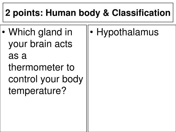 Which gland in your brain acts as a thermometer to control your body temperature?