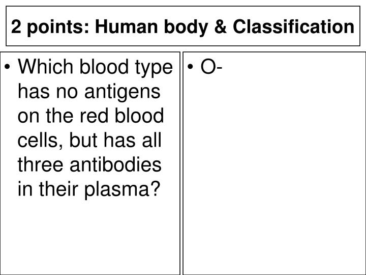 Which blood type has no antigens on the red blood cells, but has all three antibodies in their plasma?
