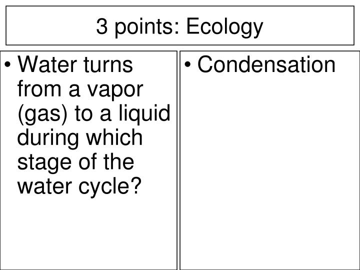 Water turns from a vapor (gas) to a liquid during which stage of the water cycle?