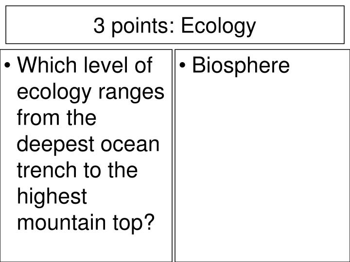 Which level of ecology ranges from the deepest ocean trench to the highest mountain top?