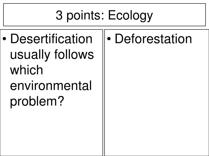 Desertification usually follows which environmental problem?