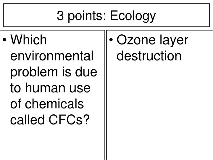 Which environmental problem is due to human use of chemicals called CFCs?
