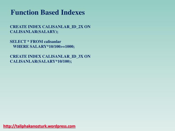 Function Based Indexes