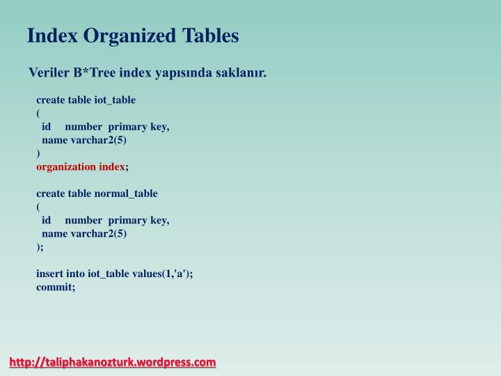 Index Organized Tables
