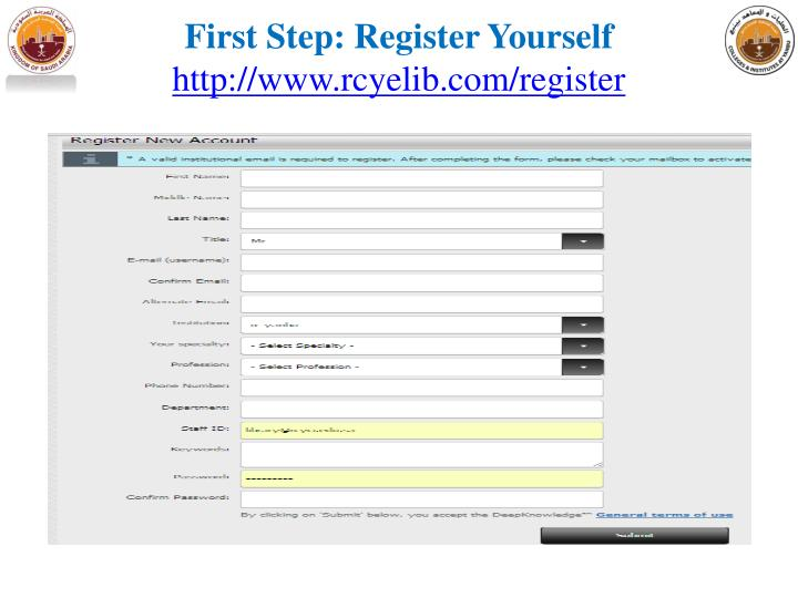 First step register yourself http www rcyelib com register