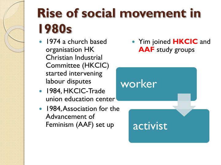 Rise of social movement in 1980s