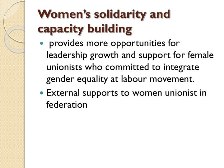 Women's solidarity and capacity building