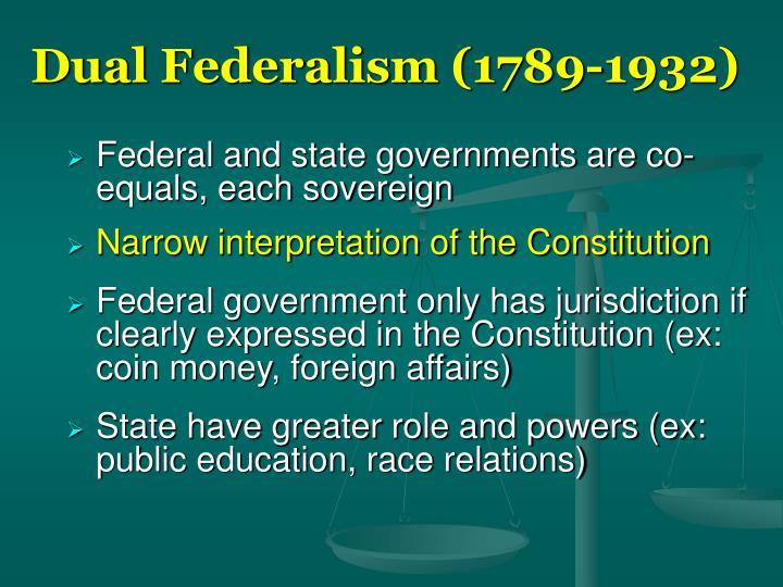 Dual Federalism (1789-1932)