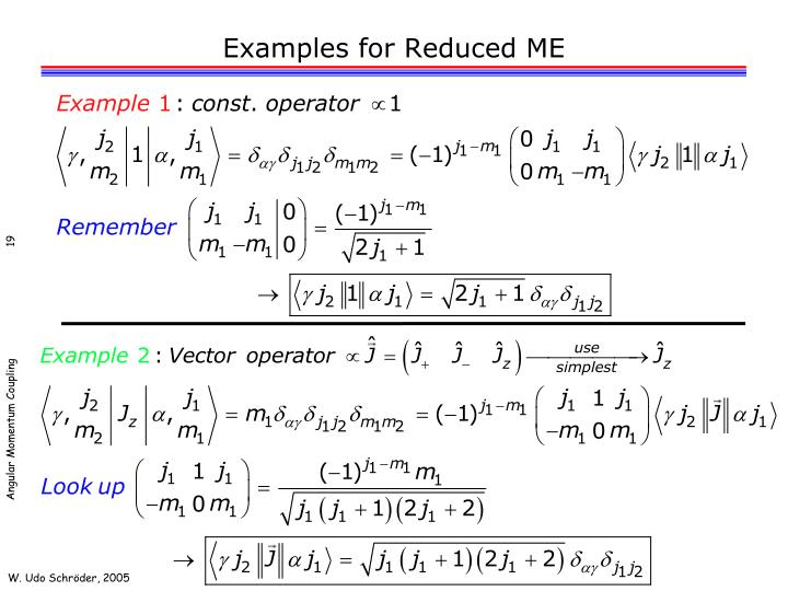 Examples for Reduced ME