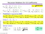 recursion relations for cg coefficients