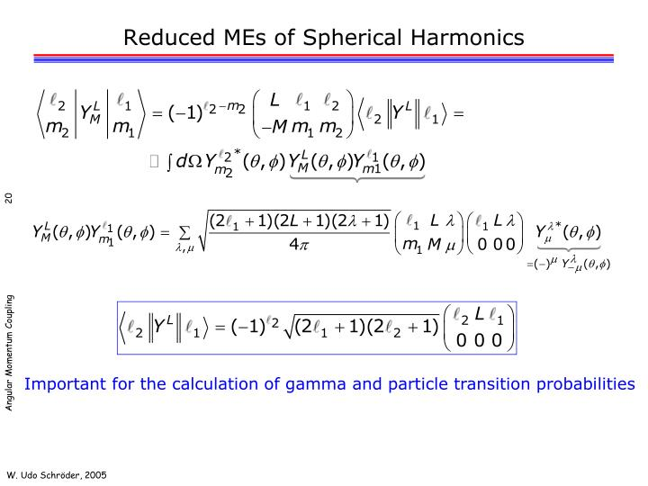 Reduced MEs of Spherical Harmonics