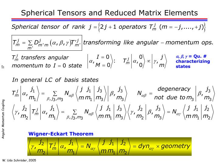 Spherical Tensors and Reduced Matrix Elements