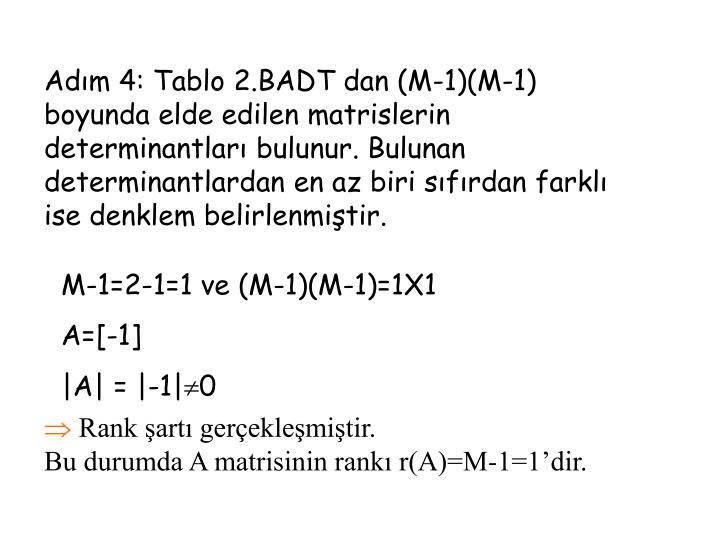 Adm 4: Tablo 2.BADT dan (M-1)(M-1) boyunda elde edilen matrislerin determinantlar bulunur. Bulunan determinantlardan en az biri sfrdan farkl ise denklem belirlenmitir.