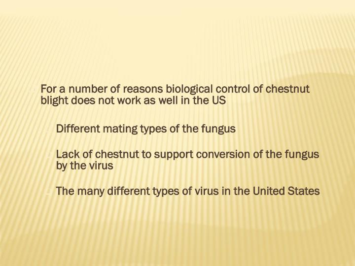 For a number of reasons biological control of chestnut blight does not work as well in the US
