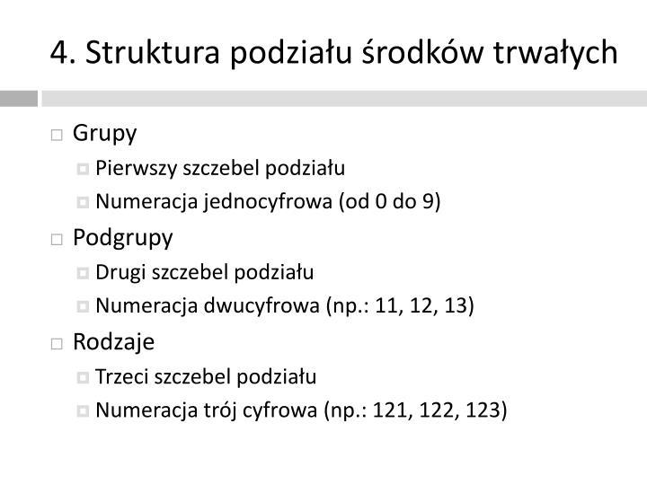 4. Struktura podziału środków trwałych