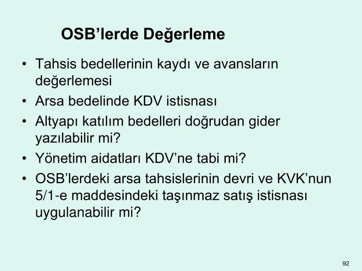 OSB'lerde Değerleme