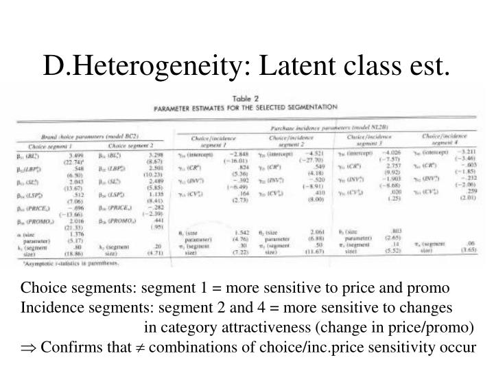 D.Heterogeneity: Latent class est.
