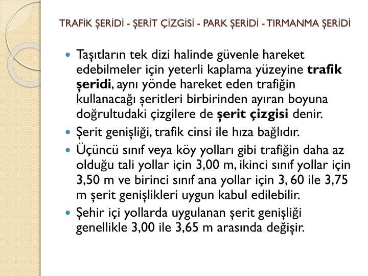 TRAFK ERD - ERT ZGS - PARK ERD - TIRMANMA ERD