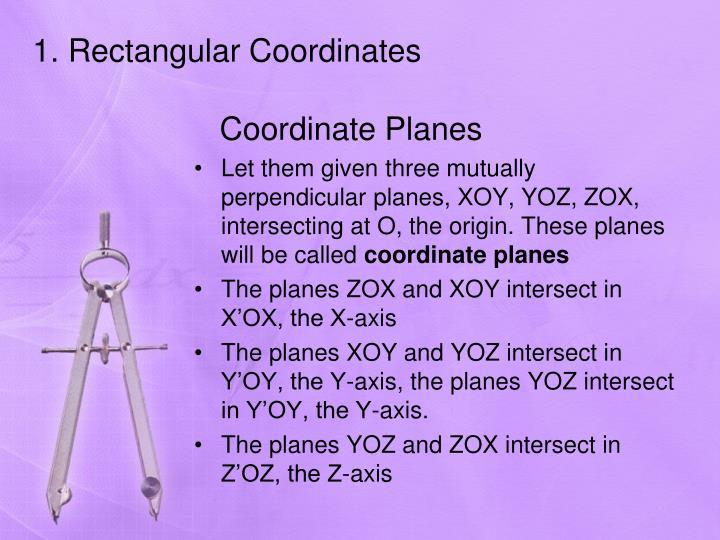 1. Rectangular Coordinates